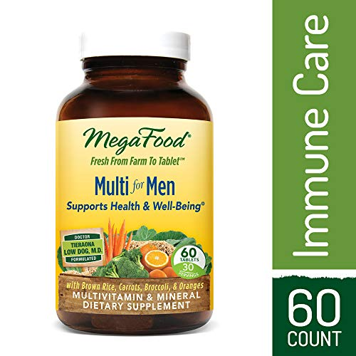 MegaFood - Multi for Men, Multivitamin Support for Energy Production, Cardiovascular Health, and Immune Function with Methylated Folate and B12, Vegetarian, Gluten-Free, Non-GMO, 60 Tablets