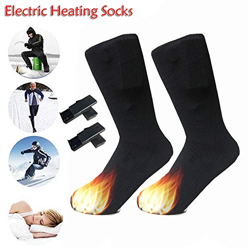 Glumes Men Women Electric Heated Socks Battery Heat Thermal Sox,Sports Outdoor Winter Novelty Warm Heating Sock,Climbing Hiking Skiing Foot Boot Heater Warmer (Black)