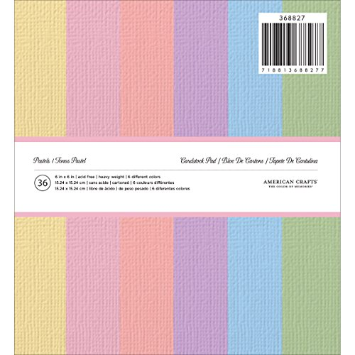 "American Crafts Solid Cardstock Pad 6""X6"" 36/Pkg-Pastels"
