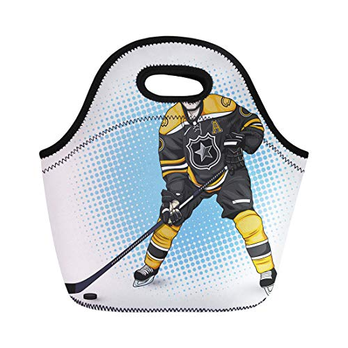 Semtomn Lunch Bags Graphic Black League Ice Hockey Player White Uniform Stick Neoprene Lunch Bag Lunchbox Tote Bag Portable Picnic Bag Cooler -
