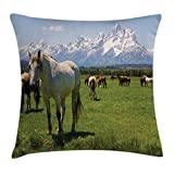Ambesonne National Parks Throw Pillow Cushion Cover, Equestrian Design Snowy Idyllic Mountain Peaks Arabian Horse Art Prints, Decorative Square Accent Pillow Case, 26 X 26 Inches, Multicolor