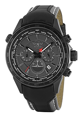 Aviator Pilot Chronograph Watch - Aviators Watch by Aviator F-Series - Black Strap Grey Dial Men's Wristwatch - Pilot Quartz Chronograph