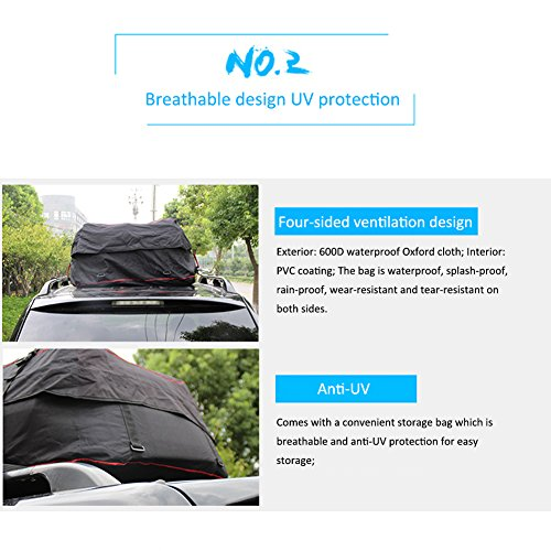 Luerme Outdoor Travel Camping Car 220L Waterproof Rainproof Dustproof Roof Top Cargo Carrier Oxford Cloth Roof Bag by Luerme (Image #3)