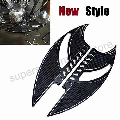 CNC Front Driver Stretched Floorboards harley FootRest Touring Tomahawk floorboards Softail Dyna Street Road Glide FLH black (Driver Footrest)