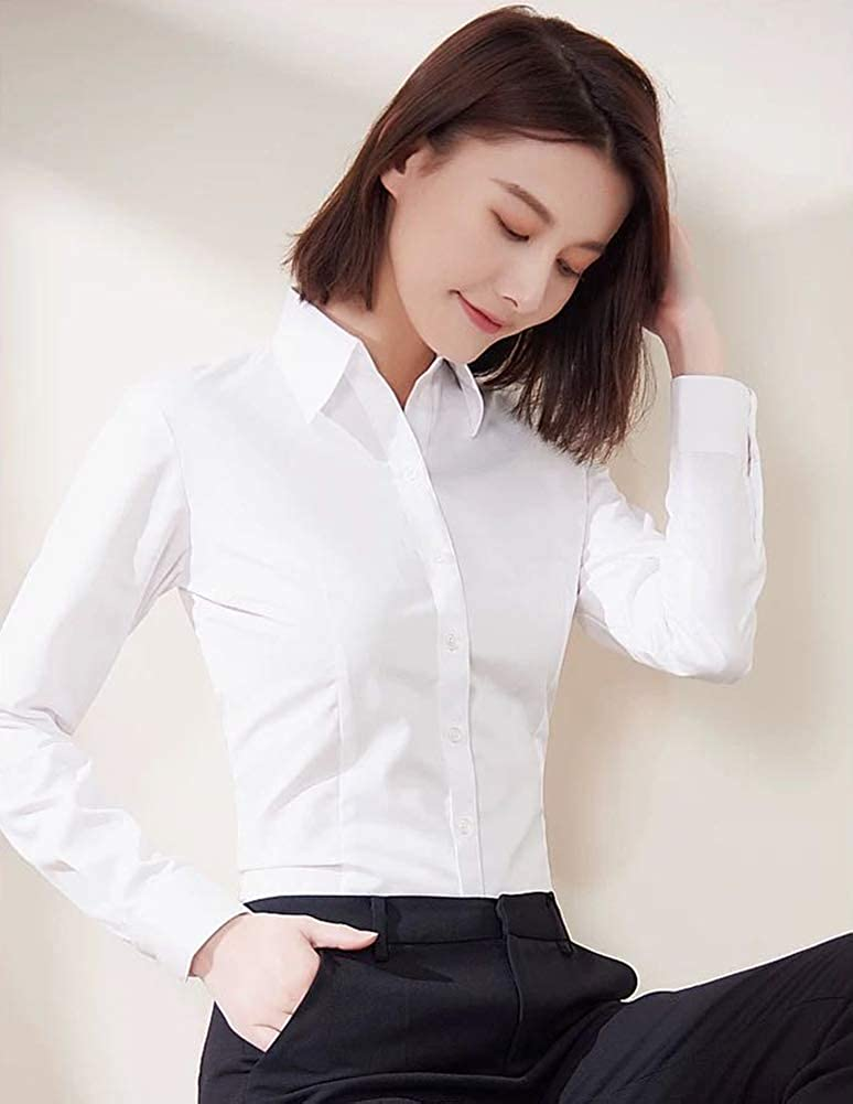 Beninos Long Sleeve Stretchy V Neck Office Formal Casual Button Down Shirt Blouse for Women Fit XS-XL