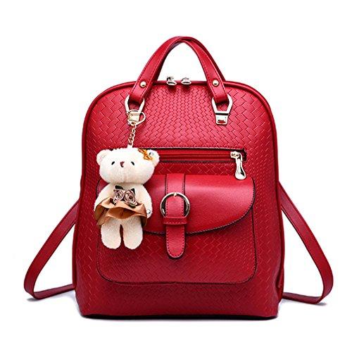 Bleu en sac cuir dos PU tout fourre femme Rouge à Élégant Fanshu IvqFwBI