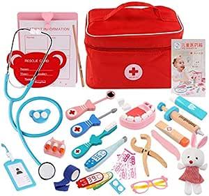 JVSISM Children Pretend Doctor Toy Set Durable Nurse Injection Tool Wooden Simulation Medicine Box Sturdy Gift Case,NO.3