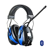 Protear Hearing Protection Safety Ear Muffs with Bluetooth 4.3 and AM/FM Digital Radio,NRR 25dB Electronic Noise Reduction Ear Defenders for Working Mowing,with a Earmuff Clip - MP3 COMPATIBLE