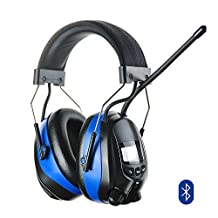 Protear Bluetooth Hearing Protection Safety Ear Muffs with AM/FM Digital Radio,NRR 25dB Electronic Noise Reduction Ear Defenders for Working Mowing and more,with a Earmuff Clip - MP3 COMPATIBLE