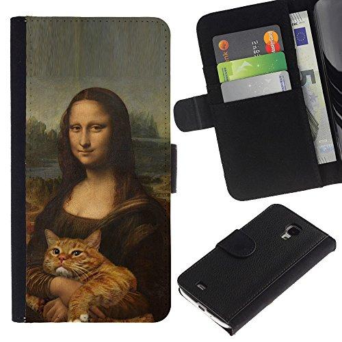 EuroCase - Samsung Galaxy S4 Mini i9190 MINI VERSION! - mona lisa ginger yellow cat funny - Cuero PU Delgado caso cubierta Shell Armor Funda Case Cover