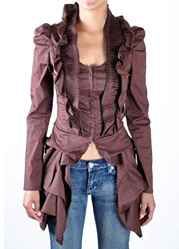 [Women's Steampunk Victorian Gothic Edwardian Bustle Tailcoat Costume Ruffle Blouse (Large, Brown)] (Victorian Aristocrat Costume)
