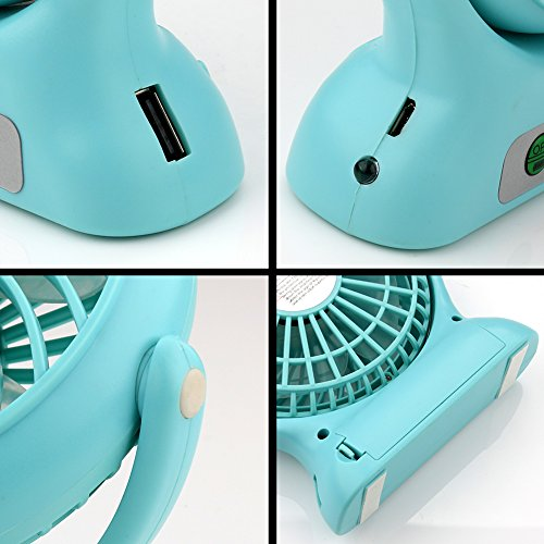 Accmor USB Mini Outdoor Portable Fan with Power Bank and LED Light Table Office Fan with 2000mAh Rechargeable Battery, Personal Portable Fan, Desktop Fan Blue by accmor (Image #2)