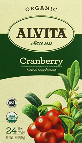 Alvita Tea Organic Cranberry Herbal Tea Bags, 24 Count (Cranberry Organic Tea)