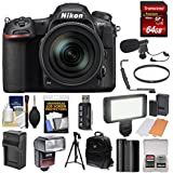 Nikon D500 Wi-Fi 4K Digital SLR Camera & 16-80mm VR Lens 64GB Card + Backpack + Flash + LED Light + Mic + Battery & Charger + Tripod + Kit