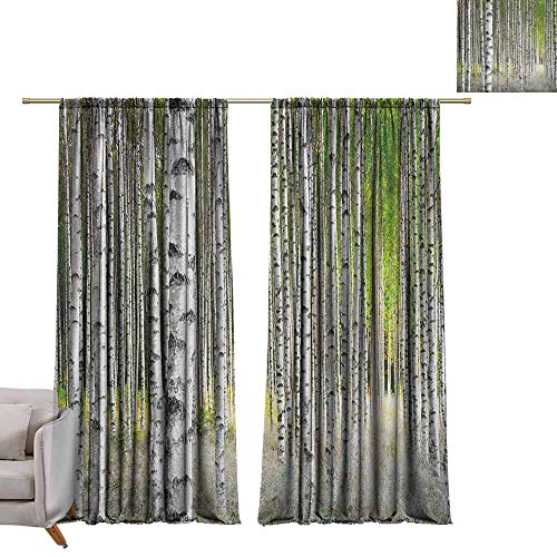 Window Curtain Fabric Birch Tree,Peaceful Late Summer Woodland Trunks Leaves Foliage Serene Tranquil, Green Pale Grey Black W72 x L96 Customized Curtains