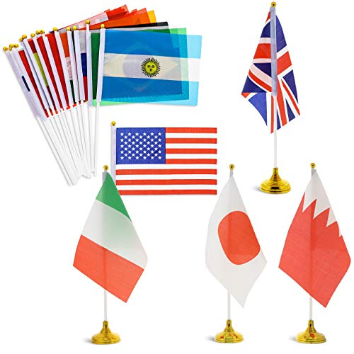 (Juvale 24-Piece International World Country Desk Flags with Stands, 8.3 x 5.5 Inches)