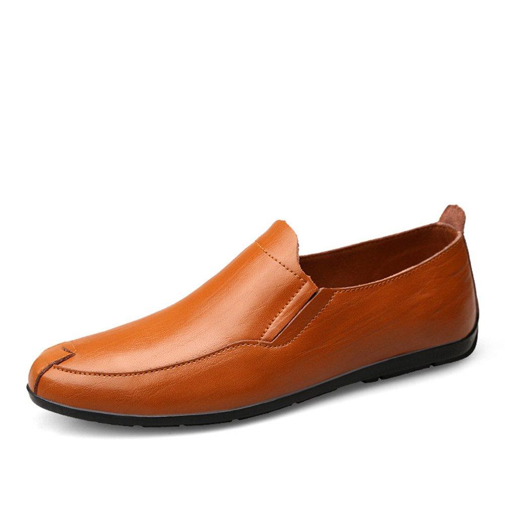 Sunny&Baby Mocasines de tacón Plano de Hombre de Cuero Genuino Vamp Slip en Estilo de conducción Loafer Antideslizante (Color : Red Brown, tamaño : 43 EU) 43 EU|Red Brown