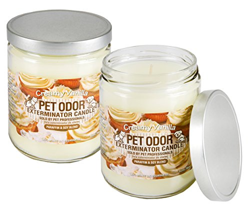 Specialty Pet Products Odor Exterminator Candle, Creamy Vanilla, 13 Ounce Jar (Pack of 2)