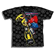 Transformers Big Boys' Optimus Prime and Bumblebee Autobots short sleeve graphic T-Shirt S Black