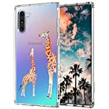 MOSNOVO Galaxy Note 10 Case, Cute Giraffe Printed Pattern Clear Design Transparent Plastic Hard Back Case with TPU Bumper Protective Case Cover for Samsung Galaxy Note 10