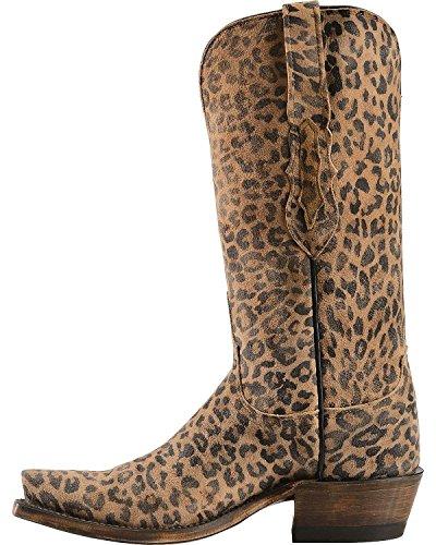 Lucchese N9634.s53 Stivali Western Da Cowboy In Pelle Stampa Leopardata Marrone Oro Donna