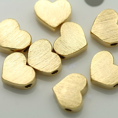 Brushed Silver Beads Necklace - 4 Pieces of Gold Metal Beads Pendants Brushed Effect Tiny Heart Charms Connectors Spacer Links 16K Gold Plated Over Brass for Earrings Necklace Bracelets etc. Jewelry Making #p-3-gd
