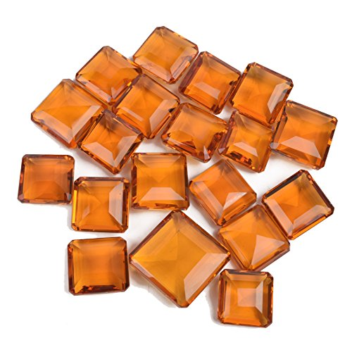 Brazilian 500 Ct./6 Pcs Square Cut Shiny Yellow Citrine Loose Gemstones Lot @