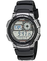 Men's AE1000W-1BVCF Silver-Tone and Black Digital Sport...
