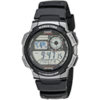 Men's AE1000W-1BVCF Silver-Tone and Black Digital Sport Watch with Black Resin Band