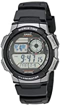 Casio Men's AE1000W-1BVCF Silver-Tone and Black Digital Sport Watch with Black Resin Band