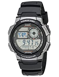 Casio Men's Silver-Tone and Digital Sport Watch Black AE1000W-1BVCF
