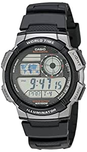 Casio Men's Silver-Tone and Digital Sport Watch Black AE1000W-1BVCF