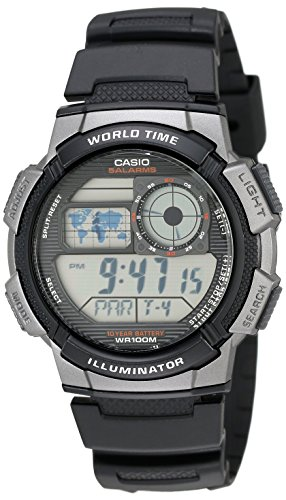 Watch Modern Multifunction Dial (Casio Men's AE1000W-1BVCF Silver-Tone and Black Digital Sport Watch with Black Resin Band)