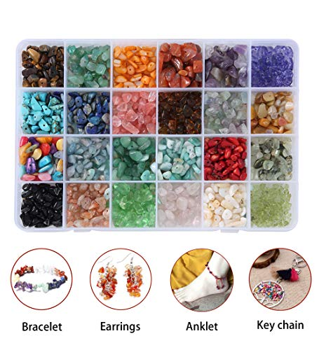 4 Assorted Irregular Chips Stone Gemstone Beads Crushed Chunked Crystal Pieces Loose Beads for Jewelry Making (Colored Glaze Crystals)