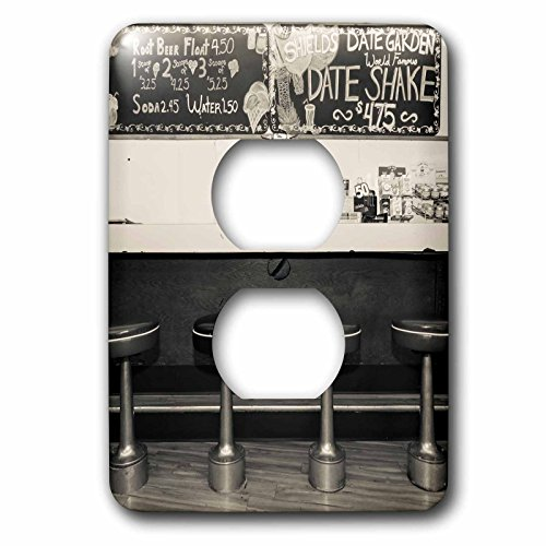 Danita Delimont - History - Black and white of diner interior, Palm Springs, California, USA. - Light Switch Covers - 2 plug outlet cover - Palm Spring California Outlet