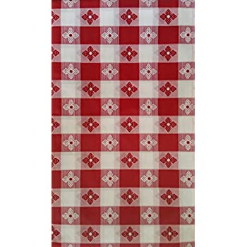 Perfect Classic Red And White Checkered With Flowers Vinyl Tablecloth   Oblong 54  In X 90 In