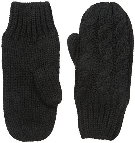LOLE Cable Mittens, Black, One Size