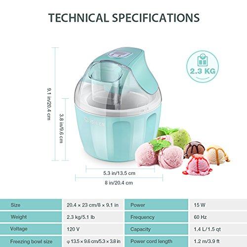 Ice Cream Maker, iSiLER 1.5 Quart Ice Cream Machine With LCD Timer, 3 Pints Gelato Ice Cream Maker for Kids, Automatic Frozen Yogurt, Soft-Serve Ice Cream, Custard, Sorbet, Dessert Maker for Home by ISILER (Image #7)