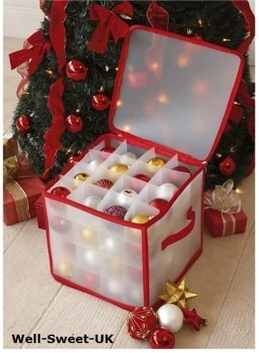 Color Blanco Caja de Almacenamiento para 64 Bolas de Navidad ASAB