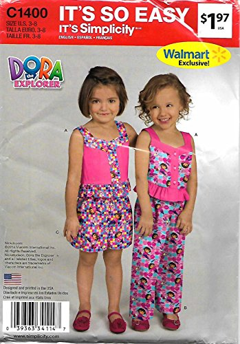 (Simplicity Sewing Pattern C1400 1400 Girls Size 3-8 Dora the Explorer Shorts Pants Suntop Top)