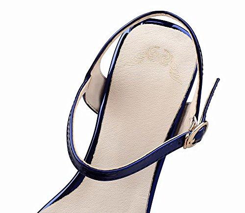 Voguezone009 Ccallp012974 Sandali Puro Punta Donna Tacco Azzurro Luccichio Fibbia Aperta Medio 117Trqw