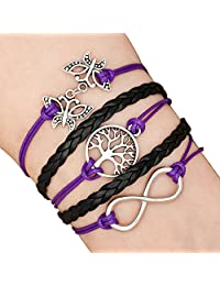 Charmed Craft Tree Of Life Infinity Butterfly Leather Wrap Rope Braided Bracelets Handmade For Women Girls