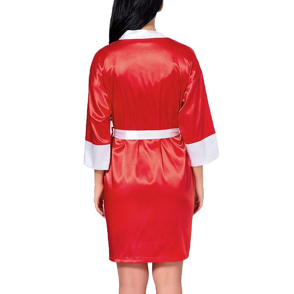 Hibote Novia Boda Corto Albornoz Mujers Kimono Satinado Encaje Bata de baño Ropa de Noche Femenina Dama de Honor Bata de casa: Amazon.es: Ropa y accesorios