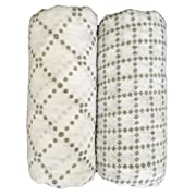 Seben Baby Muslin Swaddle Blankets 2 Pack - 100% Cotton - 47  x 47  - Dots and Blocks