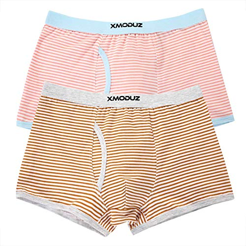 Xiaomaoduizhang Toddler Little Boys Soft Cotton Boxer Briefs Underwear 2 Pack Boys' 2-Pack Athletic Pink+Brown 110cm by Xiaomaoduizhang (Image #4)