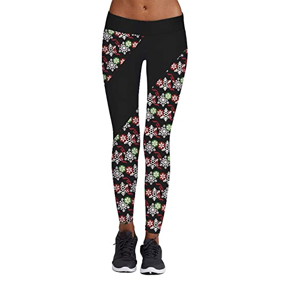 JUTOO 2019 Yoga Pants Womens Casual Christmas Print Tight ...