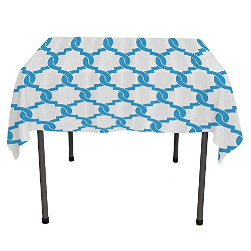 Trellis, Wipeable Table CoverEntangled Overlapping Oval Shapes in Blue Modern Design Classical Vintage Stylized, for Kitchen Dinning Tabletop Decor, 60x60 Inch Blue White ()