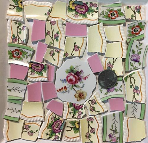 Mosaic Art & Crafts Supply ~ Green Pink & Yellow Vintage Mixed Patern Floral Tiles (B940)