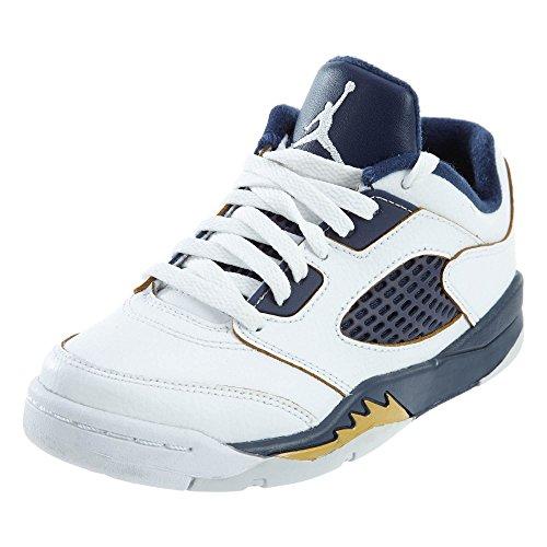 Nike Jordan Kids Jordan 5 Retro Low (PS) White/Metallic Gold/Midnight Nvy Basketball Shoe 11.5 Kids US