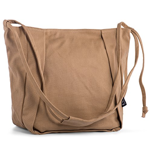 ON Sale! - Rechor Canvas Womens Shoulder Bag Ladies Handbags Shopping Bag GirlsCross Body Bag Teenager College School Large Capacity (Light Blue) Beige